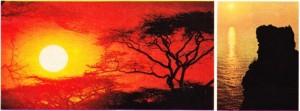 Güneşin batışının iki değişik kıtada (Afrika Avrupa) çekilmiş resmi