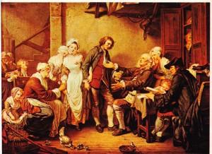 Greuze'ün Köyün Yavuklusu 1761 adlı tablosu