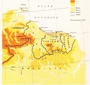 Guyanalar harita ve coğrafi özellikler