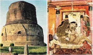 Ajanta mağaralarındaki Buddha'yla ilgili efsanelerin anlatıldığı duvar resimi