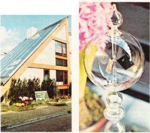 Fransa'da güneş enerjisiyle ısınan ev. Güneş ışınlarının şiddetini ölçmeye yarayan ısıölçer.