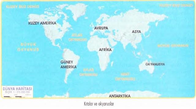 kıtalar ve okyanuslar haritası