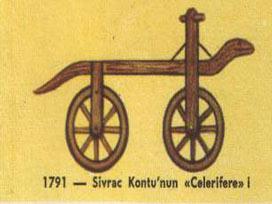 1791 tarihinde Fransız Sirvac yaptığı bisiklet