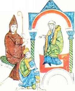 Heinrich IV'ü Canossa'da gösteren bir minyatür.