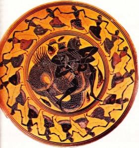 Heralles'i bir canavarla savaşırken gösteren süslemeli bir tabak