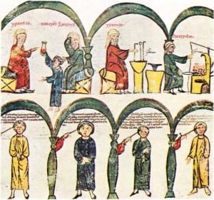 Üstte: Hippokrates sidik konusunda ders verip deney yaparken: altla: Hekim, dağlamanın yapılış biçimi konusunda açıklama yaparken (XIII. yy. minyatürü)