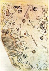 Piri Reis'in 1513 yılında gerçekleştirdiği harita.