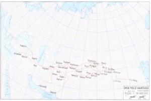 Tarihi ipek yolu güzergahını gösteren harita