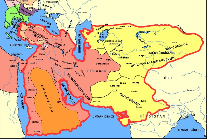 Karahanlılar, Gazneliler ve Büyük Selçukluların kuruldukları bölgelerin haritası