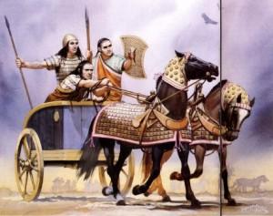 İlk Çağlarda kullanılan iki tekerlekli savaş at arabası