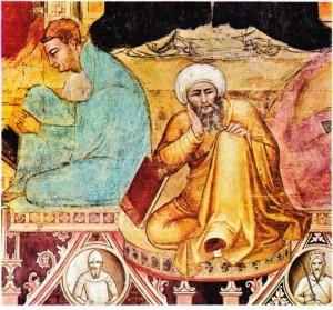 Andrea di Buonaiuto'nun İbni Rüşd ile Aquinolu Tommaso'yu konu alan yapıtından bir ayrıntı