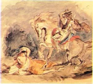 Delacroix'nın Atilla'yı gösteren bir tablosu