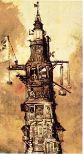 Victor Hugo'nun Eddystone fenerini gösteren çizimi