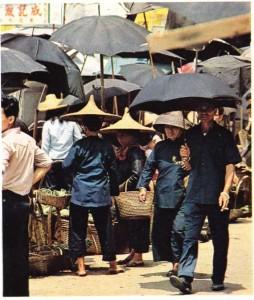Hong Kong'da bir köylü çarşısından görünüş