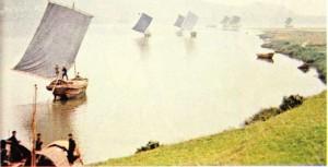 Huang Ho ırmağı üstündeki tekneler