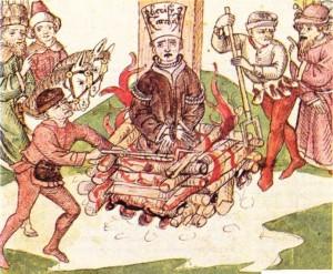 Jan Hus'un Kilise tarafından diri diri yakılması bir tezhip örneği