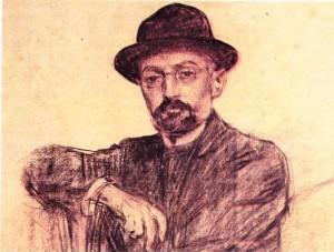 Ramon Casas'ın füzenle yaptığı,Miguel de Unamuno'nun portresi