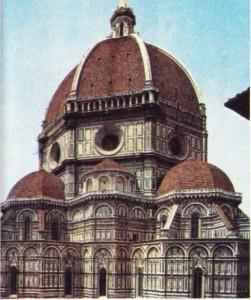 Brunelleschi'nin Floransa'da gerçekleştirdiği Santa Maria del Fiore Kilisesi'nin kubbesi.