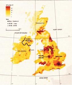 İngiltere Nüfus yoğunluğu haritası