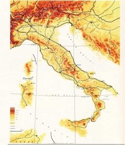 İtalya fiziki harita
