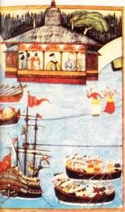 Levni'nin Surname için yaptığı minyatürden bir ayrıntı: Padişah su üstünde yapılan şenlikleri seyrederken