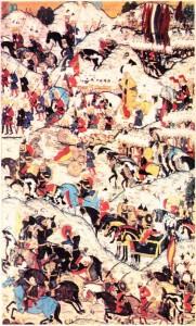 Nakkaş Osman'ın Hünername için yaptığı, Kanuni Sultan Süleyman'ı Mohaç savaşı sırasında gösteren bir minyatür.