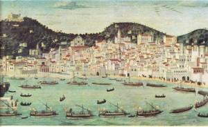 Napoli'yi gösteren, XV. yy'dan kalma bir resim