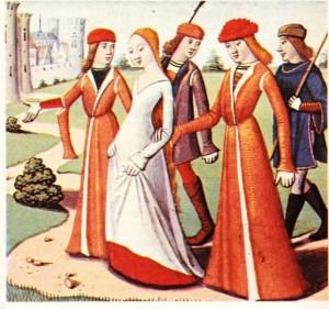 Jeanne d'Arc'ı kralın huzuruna götürülürken gösteren bir minyatür