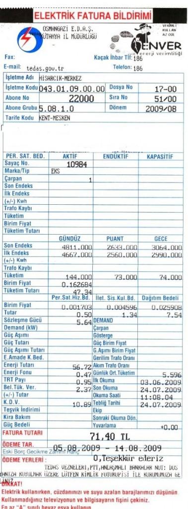 elektrik faturası vergi kesintileri