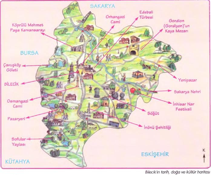 Bilecik doğa ve kültür haritası