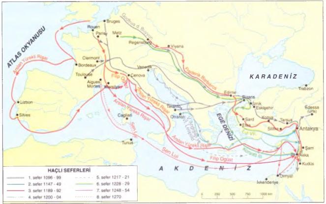 Haçlı seferlerini göstren harita