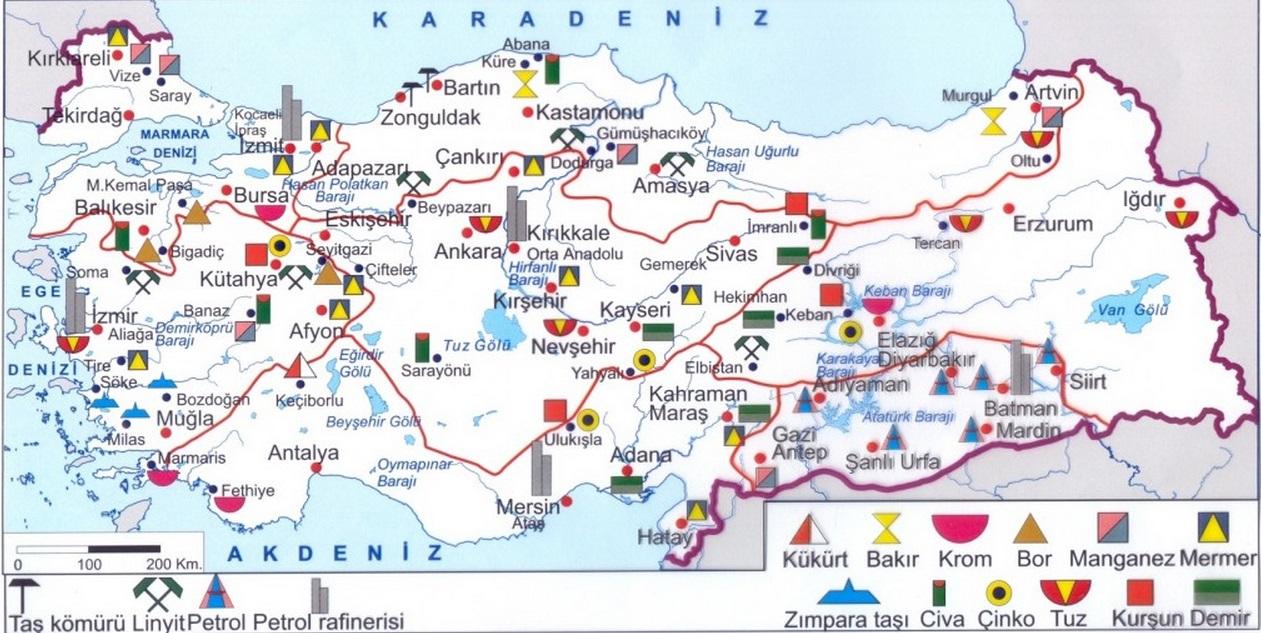 Türkiyede çıkan maden haritası