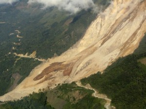 An aerial view shows a landslide in San Cristobal Verapaz