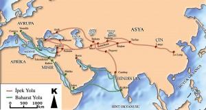 ipek ve baharat yolu haritası