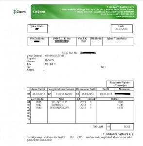 vergi ödeme belgesi