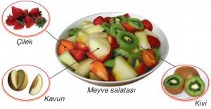 meyve salatası içindeki elementler