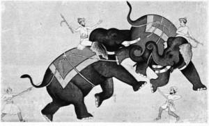 XVIII. yy'dan kalma, fili konu alan, kâğıt üstüne bir Hint minyatürü.