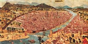XV. yy 'daki Floransa kentini gösteren bir plan.