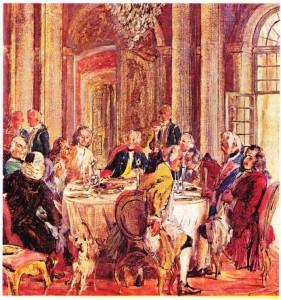 Kral olduktan sonra bilim adamlarını ve edebiyatçıları çevresinde toplayan Friedrich Il'yi Voltaire (solda, karşıda) ve dostlarıyla birlikte masa başında gösteren,Adolf von Menzel'in tablosu.