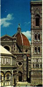 Floransa'mn en ünlü mimarlık yapıtları: Roman üslubundaki vaftizhane (solda); 1296 -1436 arasında yapılan Santa Maria del Fiore katedrali (ortada); Giotto 'nun çan kulesi (1334-1337) [sağda]. Bu üç yapı beyaz, yeşil kırmızı mermerlerle kaplıdır