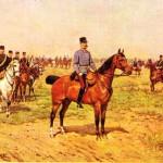 Polonyalı ressam Ajdukiewicz'in, Franz Joseph I'i Avusturya - Macaristan ordularının bir manevrası sırasında gösteren tablosu.