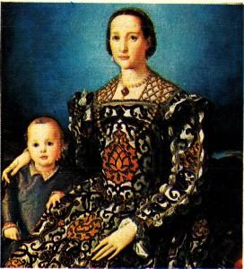 Bronzino'nun (1503 - 1572) Toledolu Leonor ile Oğlu Ferdinand l adlı tablosu. Pontormo 'nun bu öğrencisi Floransa'daki Palazzo Vecchio'nun bazı süslemelerini de yapmıştır (Floransa, Uffizi Müzesi).