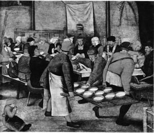 Pieter II Brueghel'in (1564-1638) düğün yemeği adlı tablosu