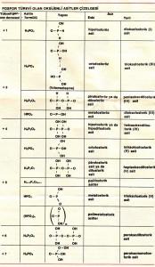 fosfor türevi olan oksijenli asitler çizelgesi