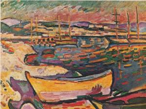 Georges Brague'ın fovizmi benimsediği dönemde yapmış olduğu Sarı Deniz Manzarası ya da Körfezdeki tekneler adlı tablosu (1906)