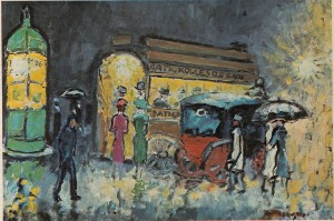 Şiddetli renkleri ve kontrrastlı ışıkları yeğleyen Van Dongen'in portre ressamı olmadan önce 1904'e doğru yapmış olduğu Batignolles Odeon Postası adlı yapıtı