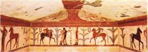 Pompei'de bir Etrüsk mezarını süsleyen freskler.
