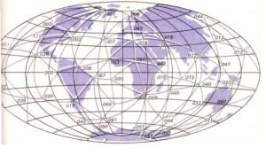 """H. Schmidt'in I973'fe, yalnızca """"Ballon"""" PAGEOS uydusunun (yaklaşık 3 000 km. yükseltide bulunuyordu) gözlemlerine dayanarak elde ettiği geodezi ağı."""