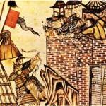 Gazneli Mahmud ile askerlerini savaşırken gösteren bir minyatür.