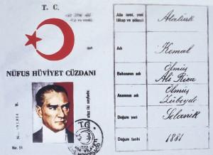 Atatürkün nüfus cüzdanı